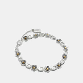 Coach Sterling Silver Ditsy Willow Floral Bracelet