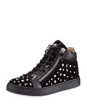 Giuseppe Zanotti Girls' London Velvet & Crystal Mid-Top Sneaker, Youth