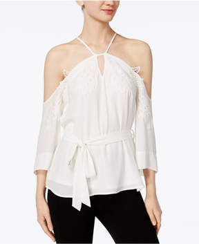 Bar III Lace-Applique Chiffon Blouse, Created for Macy's
