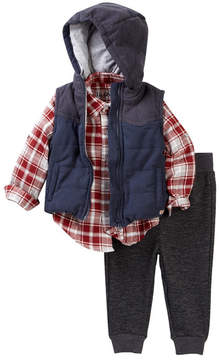 Hudson Puffer Vest & Plaid Woven Top Set (Baby Boys)