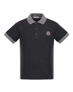 Moncler Maglia 1 Two-Tone Short-Sleeve Polo, Charcoal, Size 4-6