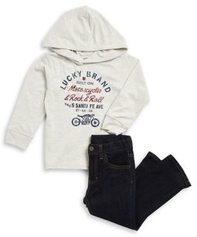 Lucky Brand Little Boy's Two-Piece Heathered Hoodie and Jeans Set