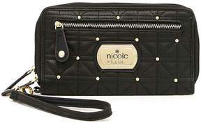 Nicole Miller Nicole By Cara Triple-Zip Studded Zip Around Wallet