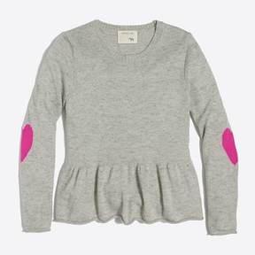 J.Crew Girls' heart elbow patch peplum sweater