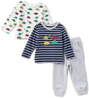 Little Me Baby Boys 12-24 Months Striped Dinosaur Top, Printed Top, & Pants 3-Piece Set