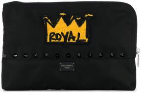 Dolce & Gabbana royal crown patch clutch