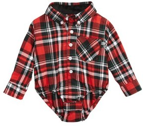 Andy & Evan Infant Boy's Shirtzie Holiday Flannel Bodysuit