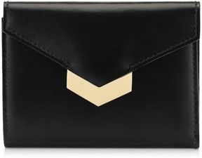 Jimmy Choo LEONIE Black Spazzolato Leather French Wallet
