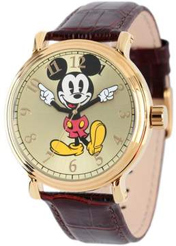 Disney Mickey Mouse Men's Shinny Gold Vintage Articulating Alloy Case Watch, Brown Leather Strap