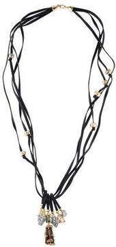 Alexis Bittar Leather Multistrand Crystal Charm Necklace