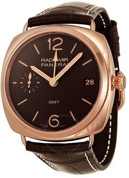 Panerai Radiomir GMT Brown Dial 18kt Rose Gold Brown Alligator Leather Men's Watch