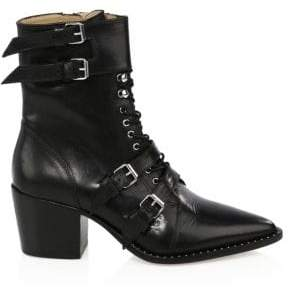 Black Lorna Leather Belted Booties