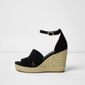 River Island Womens Black strappy gold espadrille wedges