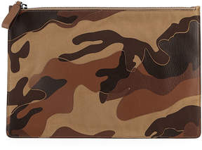Valentino Men's Leather Camouflage Zip Clutch