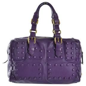 Roberto Cavalli Purple Leather Handbag
