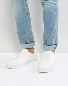 Asos Slip On Sneakers In White With Elastic