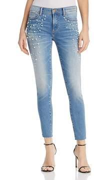 Aqua Embellished Raw-Edge Skinny Jeans in Light Wash - 100% Exclusive