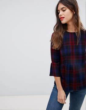 Esprit Check Print Smock Top