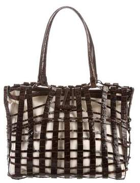 Nancy Gonzalez Crocodile & Canvas Bag