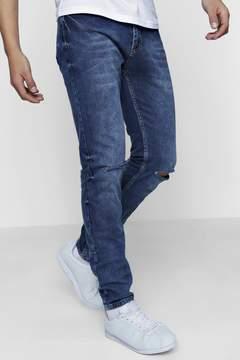 boohoo Skinny Mid Blue Jeans With Distressed Knees