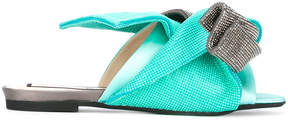 No.21 metallic bow flat sandals