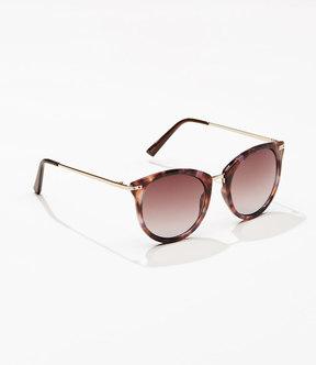 LOFT Tortoiseshell Print Metallic Arm Round Sunglasses