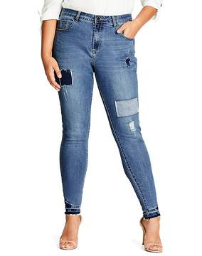 City Chic Patchwork Skinny Jeans in Mid Denim