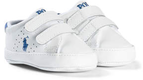 Ralph Lauren White Leather Velcro Crib Shoes with Pale Blue Pony