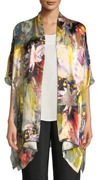Caroline Rose Wild Flower Silk-Blend One-Size Caftan Cardigan, Plus Size