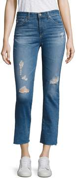 AG Adriano Goldschmied Women's Jodi Distressed Medium Wash Cropped Flare Jeans