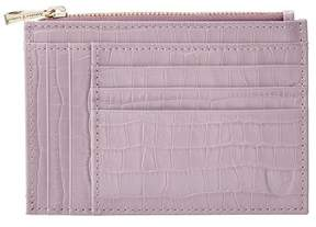 Aspinal of London | Double Sided Zipped Card Coin Holder In Deep Shine Lilac Small Croc | Deep shine lilac small croc