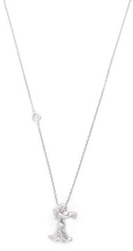 Elizabeth Showers Women's Silver & White Sapphire Aquarius Zodiac Necklace