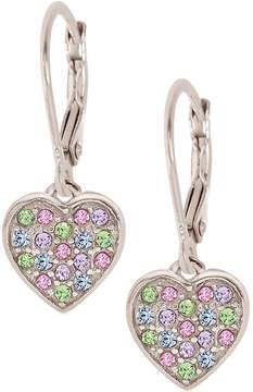 Swarovski Chanteur Jewelry 18K White Gold Plated Sterling Silver Mixed Color Pave Crystal Heart Drop Earrings