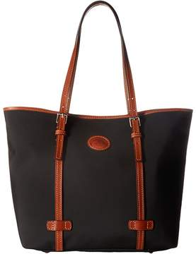 Dooney & Bourke Nylon East/West Shopper Handbags - BLACK W/ TAN TRIM - STYLE
