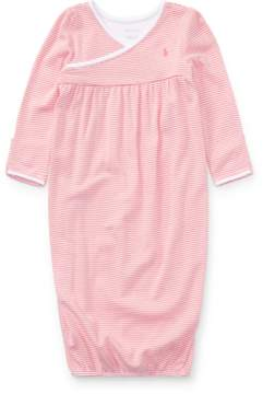 Ralph Lauren | Striped Cotton Gown | 6-12 months | Paisley pink multi