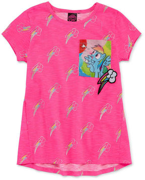 My Little Pony Embroidered Crew Neck Short Sleeve Blouse - Big Kid Girls