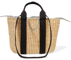 Muun Caba Straw And Printed Cotton-canvas Tote - Beige