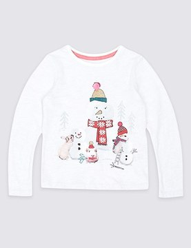 Marks and Spencer Cotton Rich Snowman Top (3 Months - 6 Years)