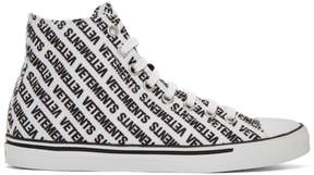 Vetements White and Black All Over Logo High-Top Sneakers