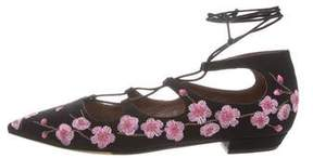 Tabitha Simmons Floral Lace-Up Flats