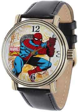 Marvel Vintage Spider-Man Mens Black Leather Strap Watch