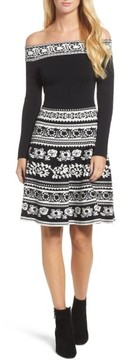 Eliza J Women's Pattern Off The Shoulder A-Line Knit Dress