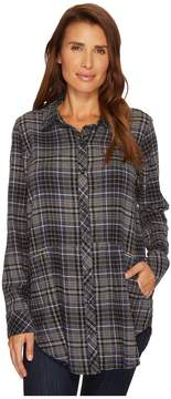 Mod-o-doc Cotton Flannel Plaid Long Sleeve Flannel Shirt with Front Pockets Women's Clothing