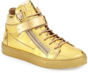 Giuseppe Zanotti Kids' Unisex Metallic Leather High-Top Sneaker, Gold, Infant
