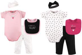 Hudson Baby Pink & Black Sparkle Eight-Piece Layette Set - Newborn