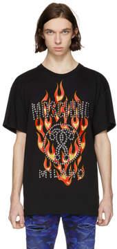 Moschino Black Studded Flame Logo T-Shirt