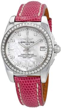 Breitling Galactic 36 Mother of Pearl Diamond Dial Ladies Leather Watch