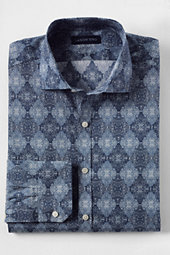 Lands' End Men's Tailored Fit Around the World Liberty Dress Shirt-Blue