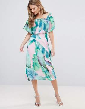 Bardot Every Cloud Palm Print Midi Dress
