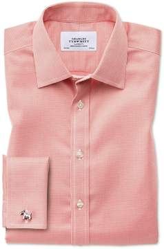 Charles Tyrwhitt Classic Fit Non-Iron Puppytooth Coral Cotton Dress Shirt French Cuff Size 15.5/33
